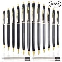 Cocoboo 12 Pcs Black Metal Ballpoint Pens with 6 Pcs Replacement Refills, Black Ink Medium Point (1.0mm), For Police Uniform, Office Business Executive, Writing Pens for Men Women