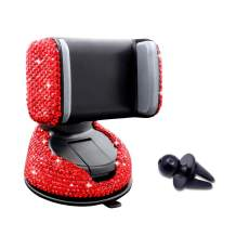 Bling Crystal Rhinestone Car Phone Holder Window Dashboard Vent Mounted Phone Stand for Easy View GPS Screen Compatible with iPhone 6s 7 7 8s 9 11 11Pro Plus(Red)
