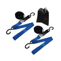 AmazonBasics Tiedown Set with Integrated Soft Loops, 2,110lb Break Strength, Black & Blue, 2-Pack