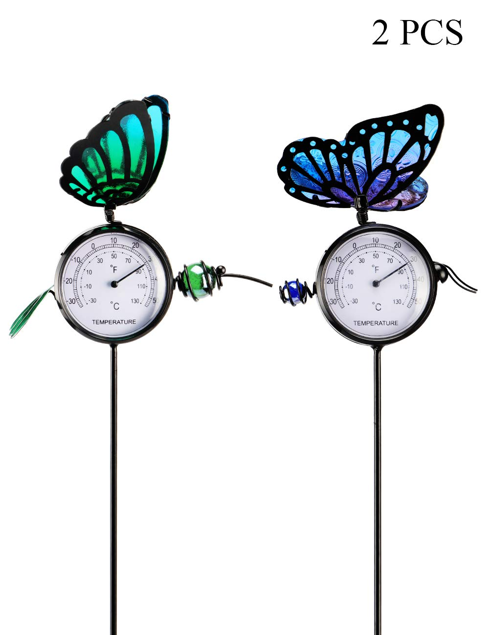 MUMTOP Thermometer Indoor Outdoor 14 Inch Patio Small Butterfly Waterproof Thermometer Does not Require Any Battery 2 Pcs