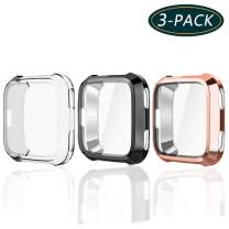 KPYJA for Fitbit Versa Protective Case, Slim Screen Protector Plated TPU Case Scratch Resistant Cover for Fitbit Versa Smart Watch (Black/Rose Gold/Clear)