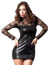 Lvoydor Plus Size Leather Lingerie for Women, Women Long Sleeve Lingerie Lace Leather Skirt Sexy for Ladies (Amazon FBA)