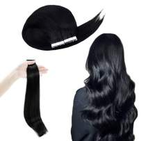 RUNATURE Invisible Tape Hair Extensions 16 Inches Color 1 Jet Black 100g 40Pcs 2.5g Per Piece Skin Weft Tape Hair Extensions