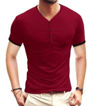 KUYIGO Mens Short Sleeve Henleys T-Shirts Buttons Placket Plain Summer Cotton Shirts