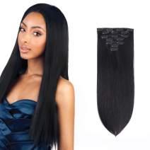 IVCoco Brazilian Virgin Human Hair Grade 9A Straight Clip In Hair Extensions 7 Piece 16 clips Straight Thick 100% Real Human Hair Extensions for Women Jet Black(70g 16inch #1)