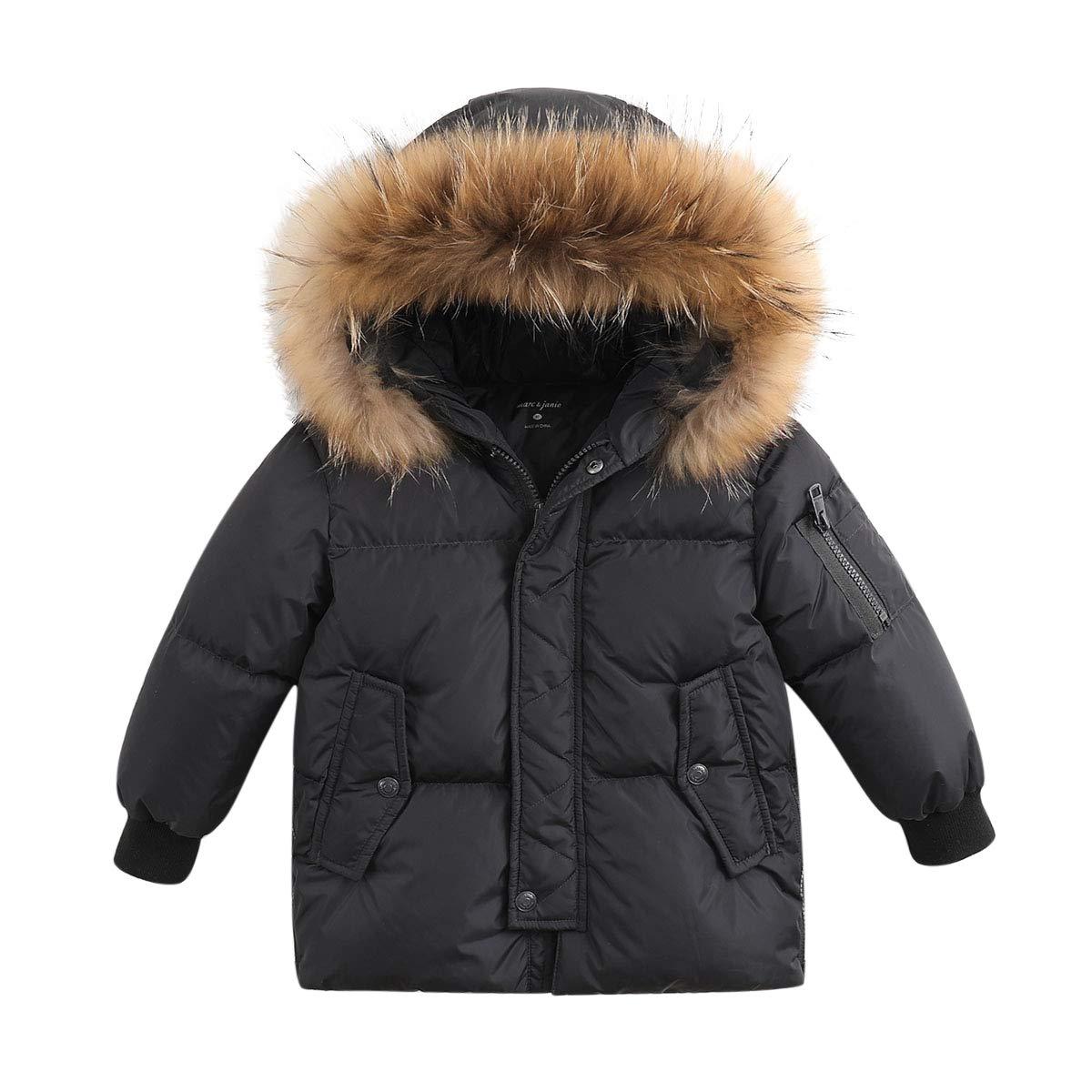 marc janie Boys' Lightweight Packable Hooded Down Puffer Jacket Raccoon Fur Collar Mid-Long