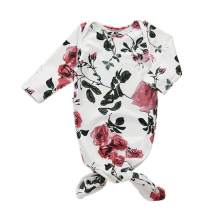 Newborn Floral Nightgowns Sleeping Gown Knotted Swaddle Sleepwear Sack Romper Bags for Baby
