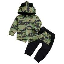 Baby Boy Clothes Long Sleeve Camouflage Hooded Tops and Pants 2Pcs Outfits Set
