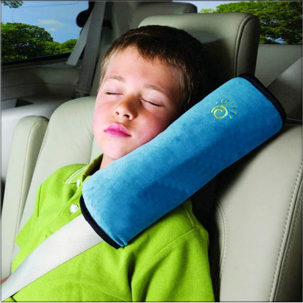 Ecloud Shop Seatbelt Pillow, Car Seat Belt Covers Kids, Adjust Vehicle Shoulder Pads, Safety Belt Protector Cushion, Soft Auto Seat Belt Strap Cover Headrest Neck Support Children Baby (Blue)