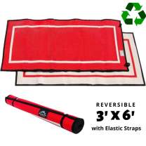 Mountain Mat Eco-Friendly Outdoor Exercise Mat sizes 5' x 7'   3' x 6' for personal fitness, playmat, beach, camping & picnics - premium, heavy duty, waterproof, reversible woven from recycled plastic