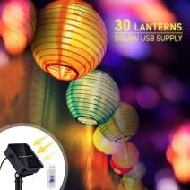 Colorful Paper Lanterns 30 Pcs -Daisylily Solar Led Outdoor String Lights, USB Rechargeable, Waterproof, 8 Flashing Modes
