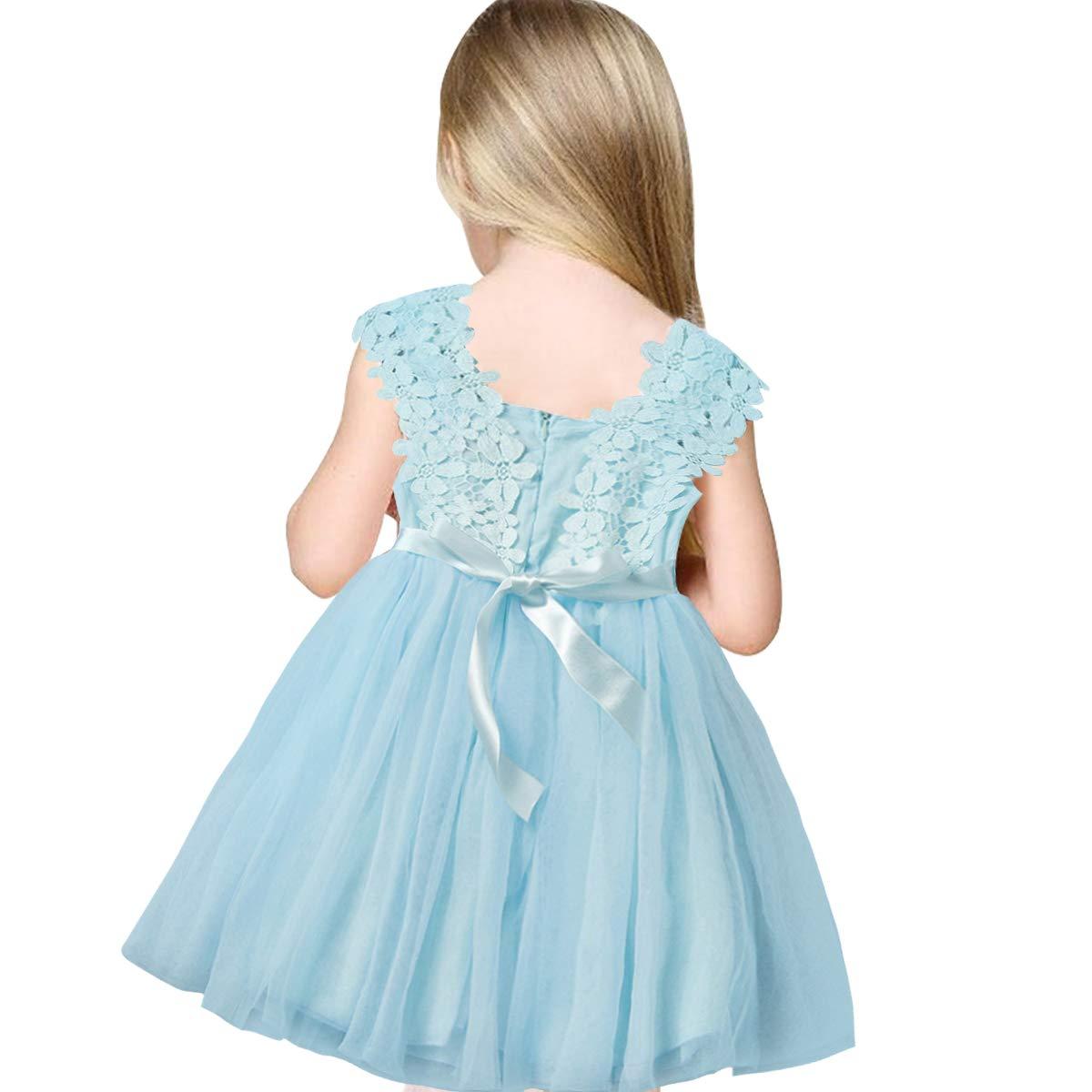 SOVIKER Baby Girls Princess Flower Dress Sleeveless Lace Tutu Gown Bridesmaid Party Wedding Birthday Dress