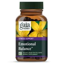 Gaia Herbs Emotional Balance Liquid Capsules, Plant-Based Mood Support Supplement, Promotes A Positive Mood with St. John's Wort, Ginkgo Biloba, Gotu Kola & Rosemary, 60 Count