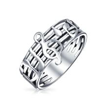 Music Student Teacher Bar Measure Treble Clef Note Band Ring For Teen For Women 925 Sterling Silver