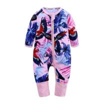 Baby Boys Girls Sleepwear Autumn Long Sleeve Bamboo Print Zipper Romper