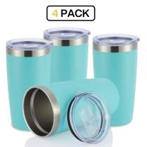 JEAREY 20oz Stainless Steel Tumbler with Lid Double Wall Vacuum Insulated Coffee Travel Mug (4 Pack, Mint)