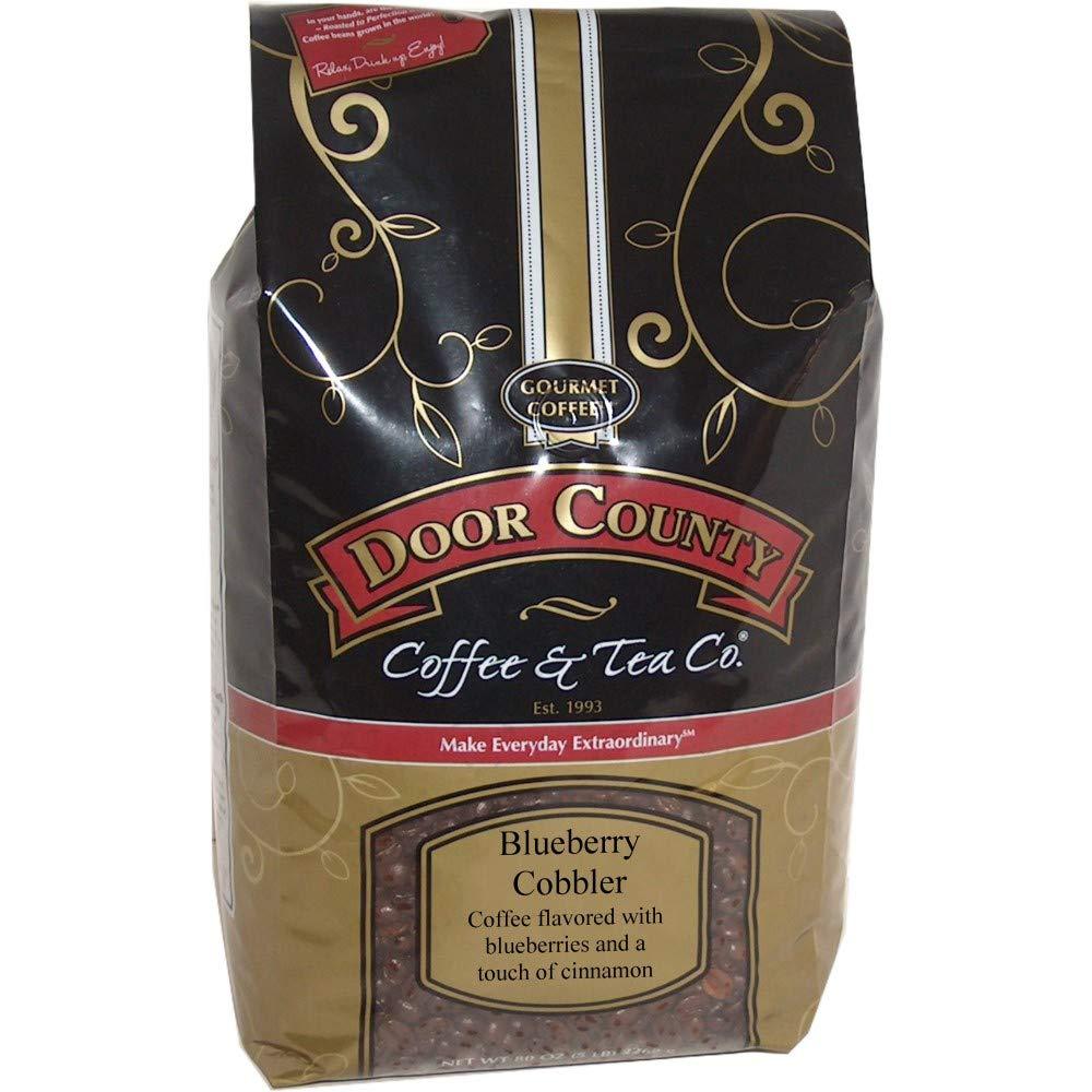 Door County Coffee, Spring & Summer Seasonal Blend, Blueberry Cobbler, Wholebean, 5lb Bag