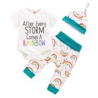 Newborn Infant Baby Boy Girl Rainbow Outfits Letter Print Onesies + Cloud Rainbow Pants + Hat Clothes Set