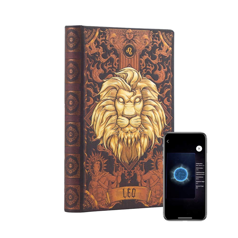 """AstroReality: Zodiac 12 Constellation Astrology Notebook, Interactive Augmented Reality Experience, 8x5"""", 192 Pages Writing Pad Journal, Unruled Embossed Hardcover (Leo)"""