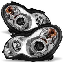[CCFL Halo] For 01-07 Benz W203 C-Class 4-Doors Sedan Wagon Chrome Clear Projector Halogen Type Projector Headlights