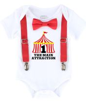Noah's Boytique Circus First Birthday Outfit with Tent Bow Tie and Suspenders