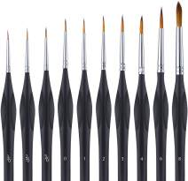 Miniature Paint Brushes Detail Set, 10 PCS Artist Paint Brushes with Triangular Handles, Model Paint Brush for Fine Detailing & Art Painting, Acrylic&Nail, Watercolor, Oil, Models, Miniatures, Face