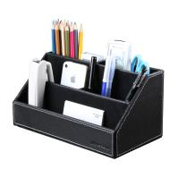 KINGFOM Home Office Wooden Struction Leather Multi-Function Desk Stationery Organizer Storage Box, Pen/Pencil,Cell Phone, Business Name Cards, Note Paper, Remote Control Holder (Black)