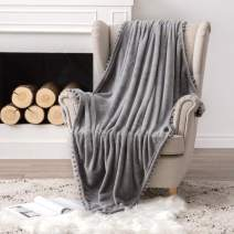 MIULEE Ultra Soft Fleece Blanket Luxurious Fuzzy for Couch or Sofa Lightweight Fluffy Warm Bed Blanket with Cute Pompom Tassels - Super Cozy for Napping Sleeping Twin Size 60x80 inches Grey