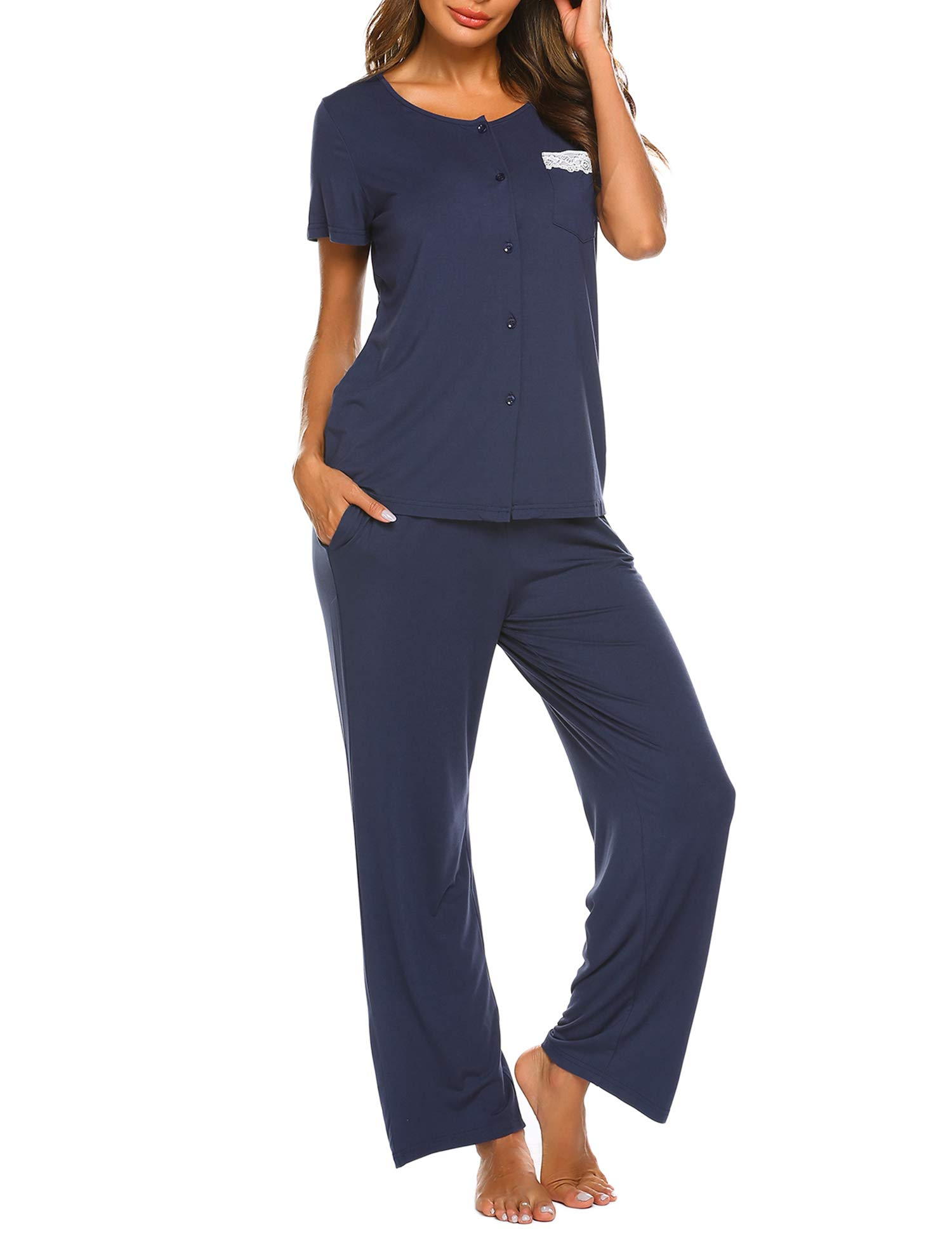 Ekouaer Womens Short Sleeve Button Down Shirt and Long Pajama Pants Sleepwear Set with Pockets (S-XXL)