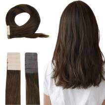 Easyouth Tape in Hair Extensions Real Human Hair Color #4 Medium Brown (14inch 40g) 20pieces per Package, Extensions Remy Human Hair for Daily Use Tape on Human Hair Extensions