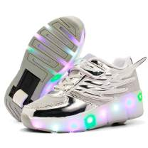 Nsasy Roller Shoes Kids LED Light Up Wheel Shoes Girls Sneakers for Kids Birthday Halloween Thanksgiving Christmas Day Best Gift