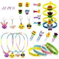 YBB 28 Pcs Easter Egg Fillers Assortment, Party Favors Supplies - Silicone Rubber Wristbands Bracelets, Necklaces, Rings, Hair Clips, Key Chains, Bookmarks