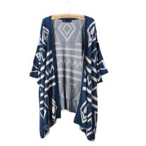 Bestmaple Women's Cotton Seal Plus Size Seed Stitch Aztec Cardigan Shawl Sweater
