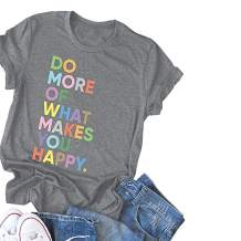 DORFALNE Women's Fun Happy Graphic Tees Summer Cute Round Neck Short Sleeve Letter Printed T-Shirts