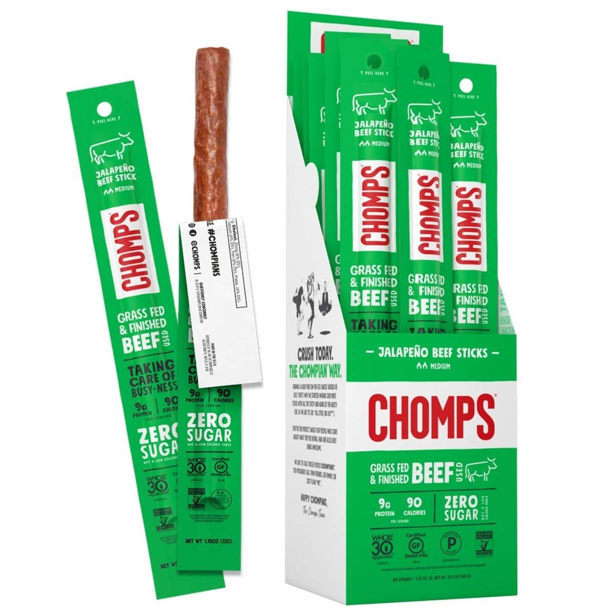CHOMPS Grass Fed Jalapeño Beef Jerky Snack Sticks, Keto & Paleo, Whole30 Approved, Non-GMO, Gluten Free, Sugar Free, Nitrate Free, Low Carb, 90 Calorie Snacks, 1.15 Oz Meat Stick, Pack of 24