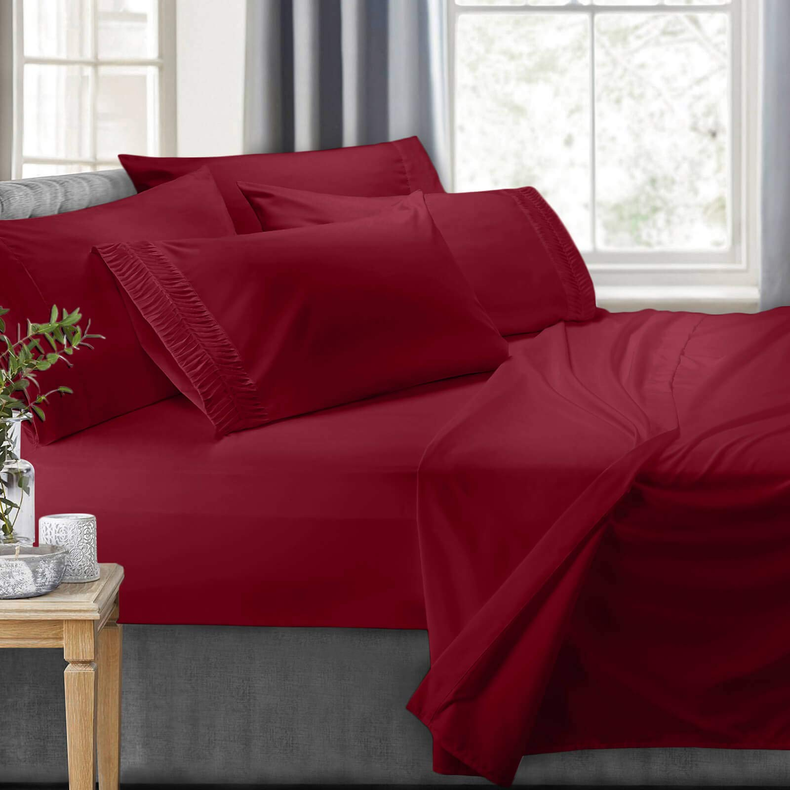Clara Clark 6-Piece Bed Sheets - Luxury Pleated Sheets Set Bedding Sheet Set, 100% Soft Brushed Microfiber Flat Sheet, Fitted Sheet, Pillowcases Cool & Breathable - Queen - Burgundy