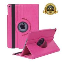 """Hsxfl New iPad 9.7 inch 2018 2017/ iPad Air Case - 360 Degree Rotating Stand Smart Cover Case with Auto Sleep Wake for Apple iPad 9.7"""" (6th Gen, 5th Gen)/iPad Air(Magenta)"""
