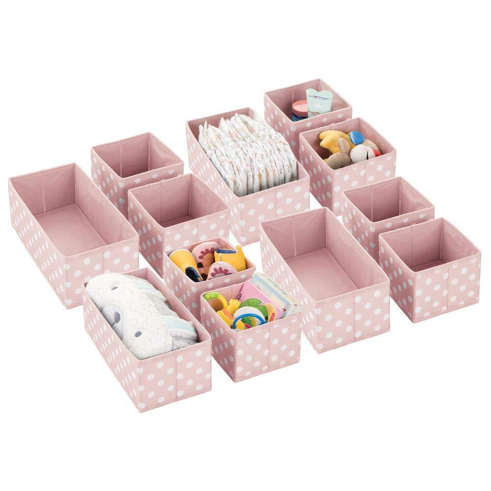 mDesign Soft Fabric Dresser Drawer and Closet Storage Organizer for Kids/Toddler Room, Nursery, Playroom, Bedroom - Polka Dot Print - Organizing Bins in 2 Sizes - Set of 12 - Pink/White
