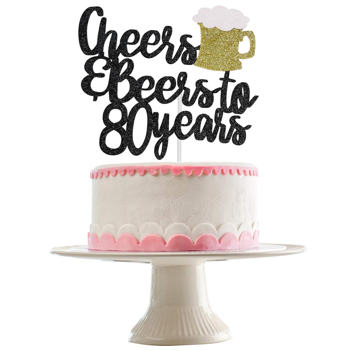 Black Glittery Cheers & Beers To 80 Years Cake Topper for 80th Birthday Party Wedding Anniversary Party Decoration Supplies