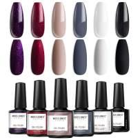 Modelones Gel Nail Polish Set - Elegant Classic Series 6 Colors in Nail Art Box, UV LED Soak Off Gel, 0.33 OZ 10ML