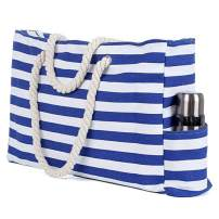 Large Canvas Striped Beach Bag - Top Zipper Closure - Waterproof Lining - Tote Shoulder Bag For Women's Shoulder Handbags Beach Travel
