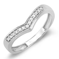 Dazzlingrock Collection 0.15 Carat (ctw) 14K Round Real Diamond Wedding Stackable Band Anniversary Guard Chevron Ring, White Gold