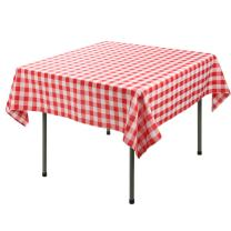 E-TEX Square Tablecloth – 70 x 70 Inch - Red & White Checker Square Table Cloth for Square or Round Tables in Washable Polyester