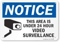 """Notice - This Area Is Under 24 Hour Video Surveillance"" Sign By SmartSign 