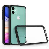 Olixar for iPhone 11 Bumper Case - Hard Tough Cover - Crystal Clear Back - Wireless Charging Compatible - ExoShield - Shock Protection - Black/Clear