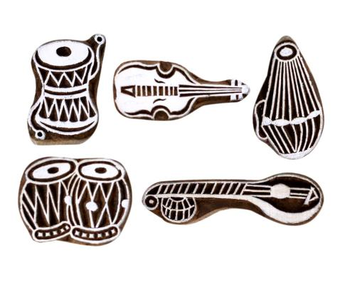 Hashcart Musical Instruments Hand-Carved Designed Wooden Blocks for Printing and Stamping