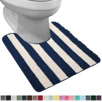 Gorilla Grip Original Shaggy Chenille Oval U-Shape Contoured Mat for Base of Toilet, 22.5x19.5 Size, Machine Wash and Dry, Soft Plush Absorbent Contour Carpet Mats for Bathroom Toilets, Navy Ivory