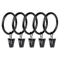 """Set of 100 Magalée Curtain Rings with Clips 1.7"""" Clip Rings Heavy Duty Curtain Clips 