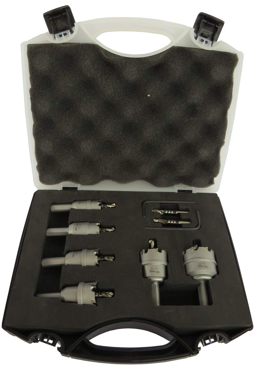 """Drill America 6 Piece Carbide Tipped Hole Cutter Set with 3/16"""" Depth of Cut (5/8"""", 3/4"""", 7/8"""", 1"""", 1-1/4"""", 1-1/2"""" and 2""""), DMS Series"""
