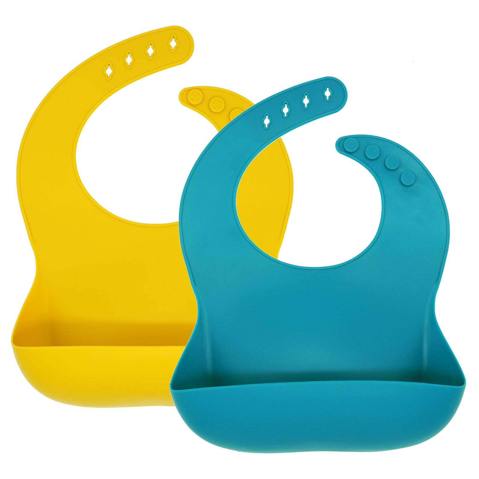 Silicone Baby Bibs, Socub Comfortable Waterproof Silicone Bibs for Babies & Toddlers, BPA Free, with Food Catcher Pocket, Mustard, Teal